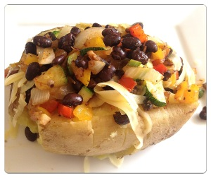 Baked Sweet Potato Loaded with Black Beans and Veggies