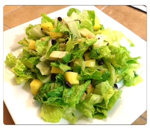 Green Salad with Mango, Avocado, Coconut Black Beans and Coconut Lime Vinaigrette