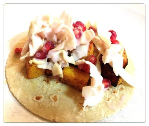 Roasted Butternut Squash Tacos with Pomegranate Slaw